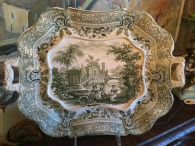 English Staffordshire Transferware 1830s Tureen Stand 19th Century Green White