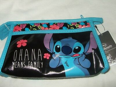 New Disney Lilo & Stitch Ohana Mean Family Alien Flower Cosmetic Makeup Bag Cute