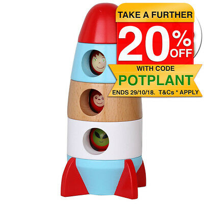 Discoveroo Magnetic Stacking Rocket Wooden Kid Pretend/Space Play/Toy/Education