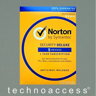 Symantec Norton Security Deluxe 5 Device Pc 1 Yr Retail Version (Download Only)