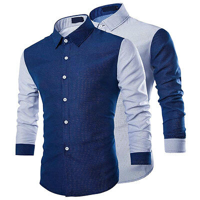 Men's Casual Long Sleeve Slim Fit Stylish Dress Shirts Formal Shirt Tops Pro POP