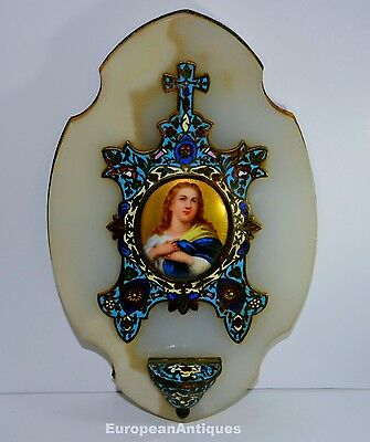 "Antique Enameled Holy Water Font 1800s Brass & Marble French 9.5"" x 6"" 2lbs 6ozs"