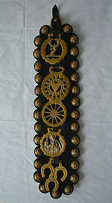"""Brass & Leather  Equestrian Horse Brasses Bridle Harness  England Deer Heart 23"""""""