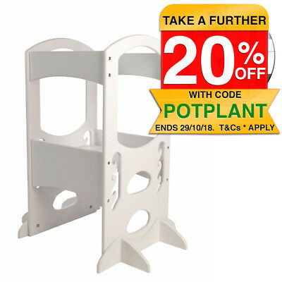 Little Partners Toddler Learning Tower Wooden Soft White Adjustable Stool/Step