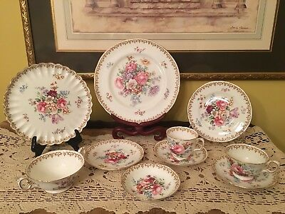 "Ten Piece GviR Crown Staffordshire Place Setting ""England's Bouquet"" Bone China"