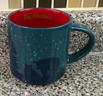 Tim Hortons 2017 Limited Ed Holiday Coffee Mug Bear Blue Red Tim's Cup