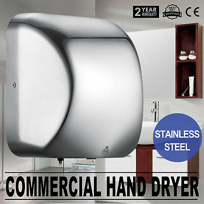 1200W Durable Auto Sensor Stainless Steel Commercial Hand Dryer W/Nozzle Ship