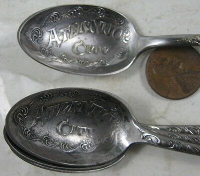 4 Antique Sterling Silver Plate Co Atlantic City Fancy Spoons
