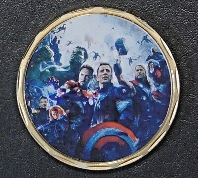 2015 TOKEN Age of Ultron - Avengers 24K Pure Gold Plated Mirror/Proof coin