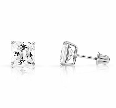 93a8ac5c8 14k White Gold Cubic Zirconia Princess Cut Stud Earrings With Screw
