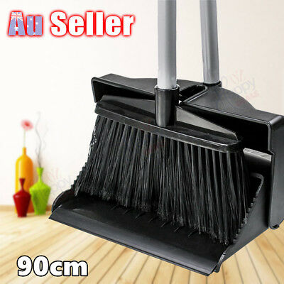 Dustpan and Brush Broom Set Dust Pan Garden Lid Cover Black Sweep Long Handle