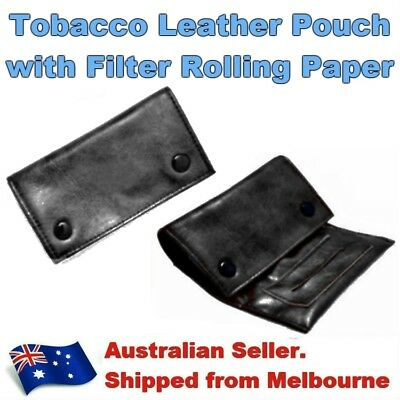 Black Leather Tobacco Cigarette Pouch Case with Filter Rolling Paper Holder Zip