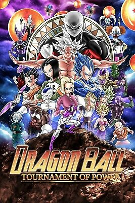 "Dragon Ball Super Tournament Of Power Poster 48x32"" Anime Goku 2018 Print Silk"