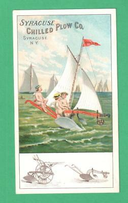 Antique Trade Card Syracuse Chilled Plow, Ny Cupids Plow-Sailboat Ocean
