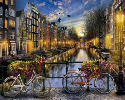 Paint By Numbers Modern City Night Canals Amsterdam Netherlands 40CMx50CM Canvas