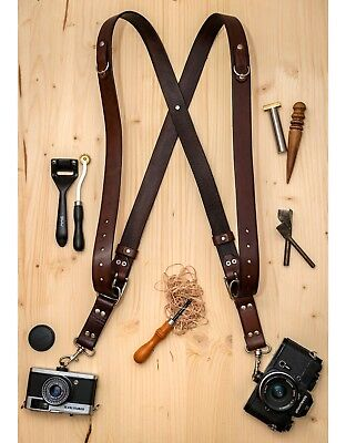 Handmade Leather Double Camera Harness Leather Multi-Camera Strap Dark Brown