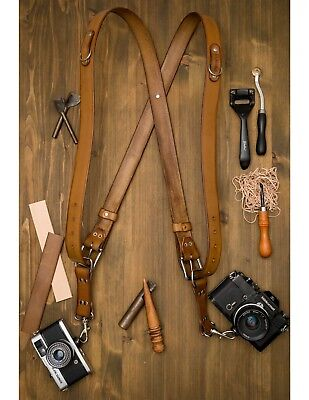 Handmade Leather Double Camera Harness Leather Multi-Camera Strap Antique Brown