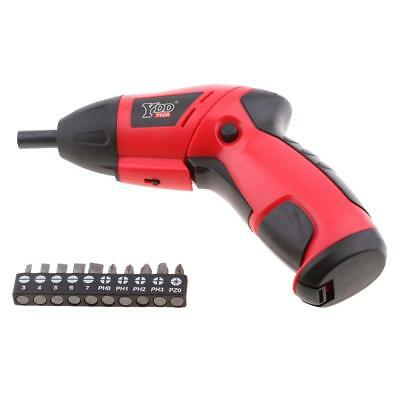 Cordless Electric Screwdriver 10pc Screw Bits Set Batteries Operated 180rpm
