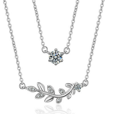Zircon Crystals Leaf Design 925 Sterling Silver Pendant Necklace For Women Gift