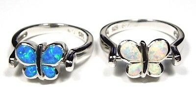 Reversible Blue & White Fire Opal Solid 925 Sterling Silver Butterfly Ring 6 - 9