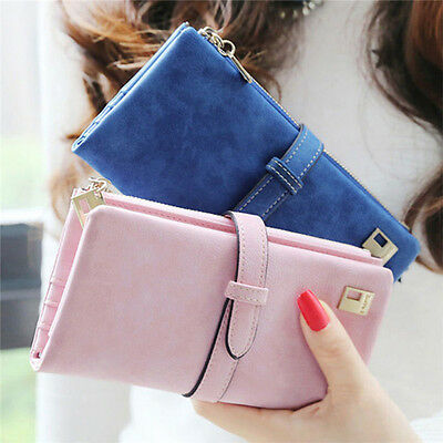 Women Leather Long Purse Ladies Clutch Coin Phone Bag Wallet Cards Holder JDUK