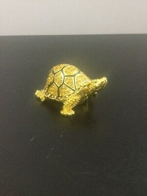 "Beautiful Gold Colored Metal Turtle Trinket Box Jeweled 1.5"" Tall And 3"" Long"