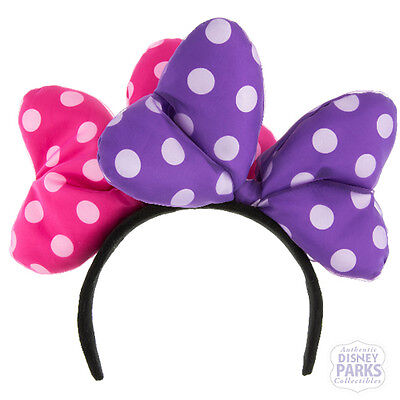 Disney Parks Minnie Mouse Double Large Bow Headband Hat Ears Pink and Purple