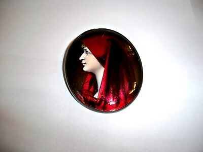 ANTIQUE HAND PAINTED LOVELY LADY LARGE SILVER BROOCH-GORGEOUS Piece -PLEASE LOOK
