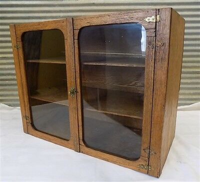 Wood Cabinet Glass Doors Showcase Display Case Cupboard Country