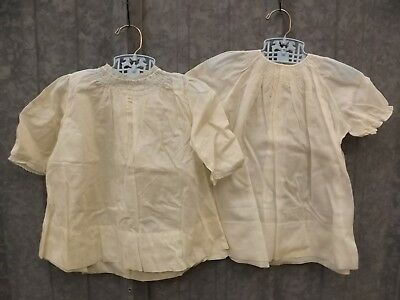 Lot of 2 Vtg Antique Fine Linen Dainty Embroidered Ruched Girl Baby Doll Dresses