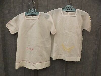Vtg Antique 2 Hand Embroidered Cotton Summer Nightgowns Girls Baby Doll Toddler