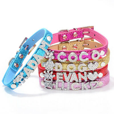 Personalised Pet Dog Cat Collar Rhinestone Name Glitter Bling Charms PU Leather