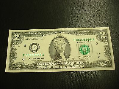 2013 - USA $2 note - two dollar bill - F08028998A