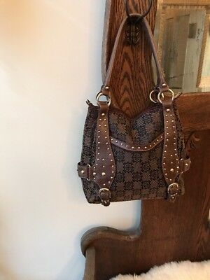 Mercer Madison Handbag Tote Weekender Harness Studs Faux Leather Canvas Nice