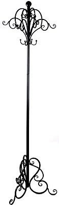 French Provincial Black Metal Iron Coat Hat Stand