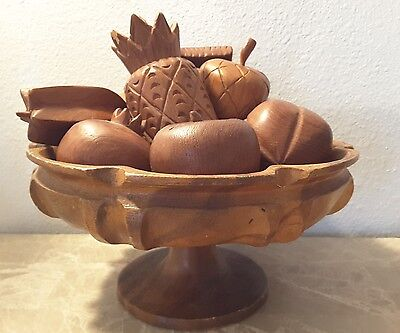 Vintage Hand Carved Wood Wooden Fruit 10 Pieces and Bowl Stand