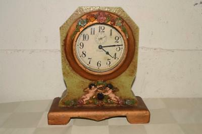 ANTIQUE Vtg WATERBURY Cyclone MANTLE Shelf CHERUB CASE Alarm CLOCK Art Nouveau