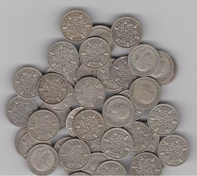 SILVER Sixpence - England (UK) .500 Silver 1928 through 1936   Wedding 6Pence