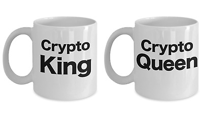 Cryptocurrency King and Queen Coffee Mug Set - Bitcoin, Altcoin,