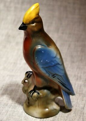 """GERMANY """"Hand Painted Waxwing"""" Porcelain Bird Figurine 6 1/4"""" 1940s"""