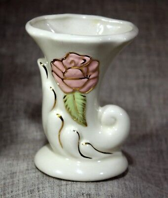 "American Bisque Pottery ""Relief Rose w/Gold Trim"" Cornucopia"