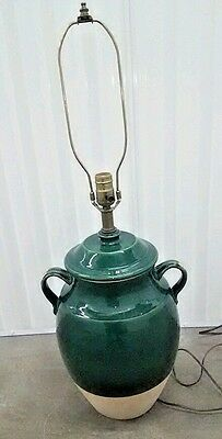 Rowe Pottery Works Studio Pottery Table Lamp Green Crock Large Rustic 2 Handle