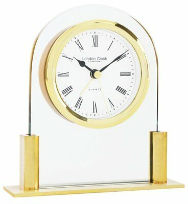 Small Glass Golden Mantle Clock 12.5 x 12 x 3.5cm Roman Numerals Mantlepiece New