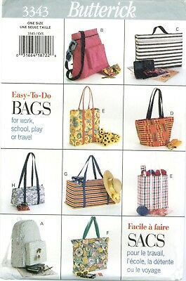 Butterick 3343 TOTE BAGS Grocery Book Beach Backpack Sewing Pattern UNCUT