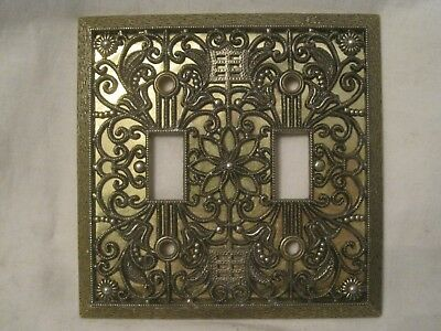 ornate metal wall double light switch plate cover scroll floral  65TT Amer-Tac