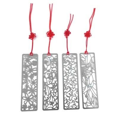 Pack of 4 Classical Hollow Out Flower Style Metal with Red Knotting Strap G7U8