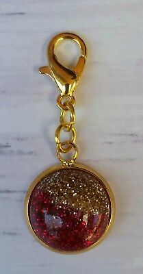 Planner Clip, Zipper Charm with Binder Clip Red Flame Druzy Planner Charm