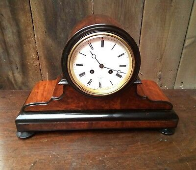 ,the Antique 19th century walnut French drum head mantle clock