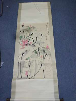 Excellent old Chinese Scroll Painting By Wu GuanZhong: lotus c30