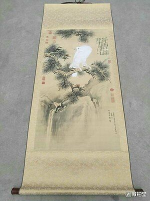 Excellent old Chinese Scroll Painting By Lang Shining:white bird A86
